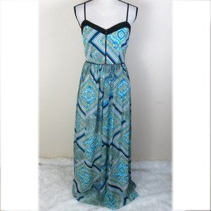 Bisou Bisou Blue and Green Maxi Dress Size 4